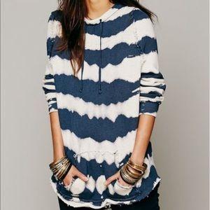 Free People Tie Dyed Striped Sweatshirt
